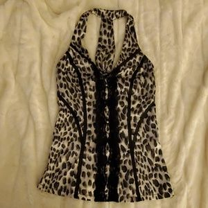 XOXO grat black and white cheetah print shirt